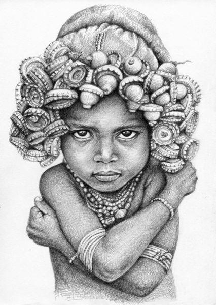 Afrika, Grafit, Portrait, Kronkorken, Zeichnung, Crown cap