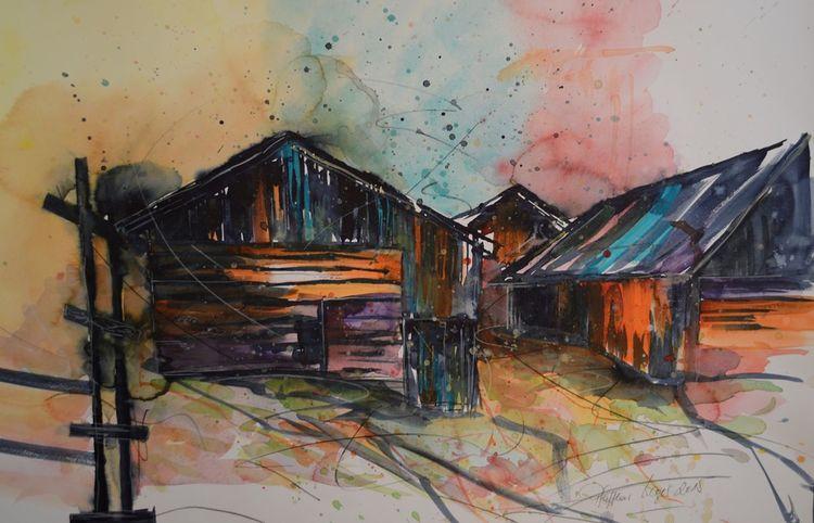 Schatten, Hütte, Aquarellmalerei, Alt, Bauernhaus, Dorf
