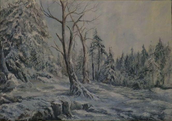 Winter wald schnee, Malerei, Winterlandschaft