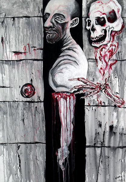 Menschen, Schwarz weiß, Schädel, Tunnel, Leben, Skelett