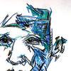 Kontrast, Blau, Gesicht, Kontur