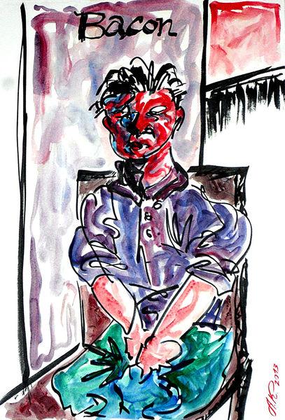 Stuhl, Rot, Portrait, Francis bacon, Rahmen, Menschen