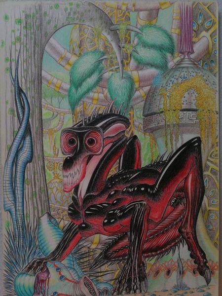 Beast, Zeichnung, Landschaft, Außerirdisch, Gold, Zeichnungen