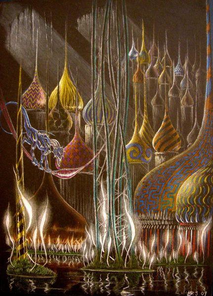 Zwiebeltürme, Außerirdisch, Versinken, Zeichnungen