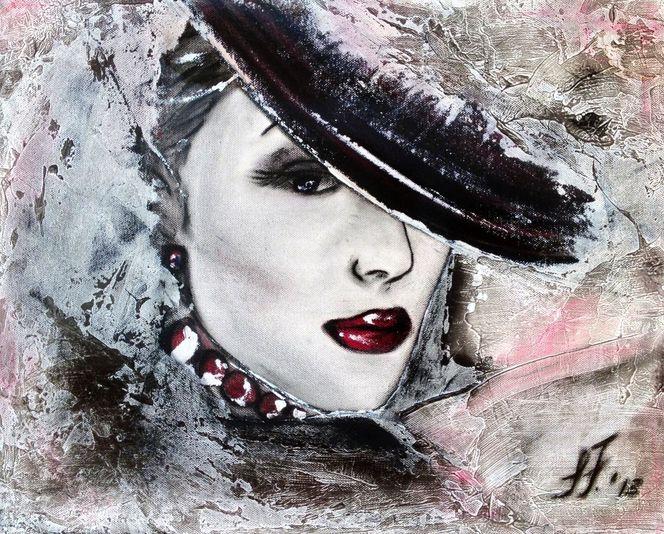 Frau, Rot schwarz, Malerei
