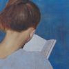 Frau, Buch, Blau, Malerei