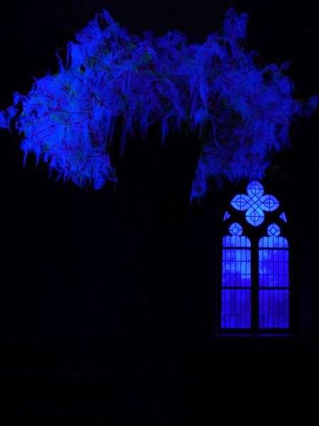 Blau, Feder, Kapelle, Kirche, Installation, Fotografie