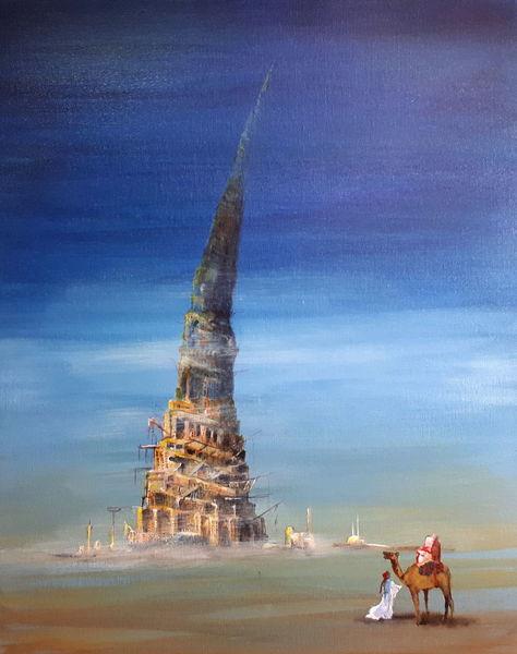 Turm, Beduinen, Babel, Wüste, Dromedar, Malerei