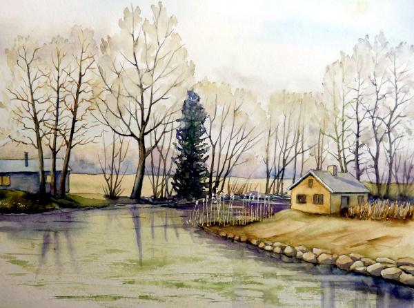 Flusslandschaft, Landschaftsmalerei, Fluss, Aquarell