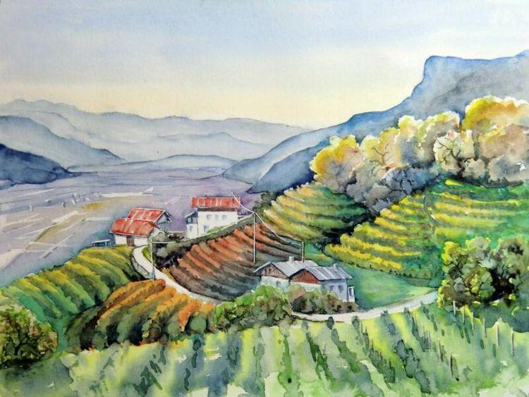 Wallweg, Aquarellmalerei, Obstbauernhof, Landschaft, Südtirol, Tscherns