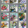 Blumenaquarelle, Kalender, Aquarell, Pinwand