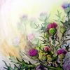 Blumen, Distel, Aquarell