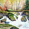 Bach, Harz, Herbst, Aquarell