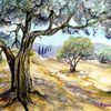 Baum, Aquarell, Landschaft