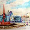 Augustusplatz, Leipzig, Aquarell, Aquarelle architektur