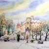 Sachsen, Winter, Schloss, Aquarell