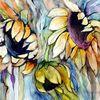 Blumen, Aquarell, Sonnenblumen
