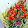 Mohn, Klatschmohn, Blumen, Mischtechnik