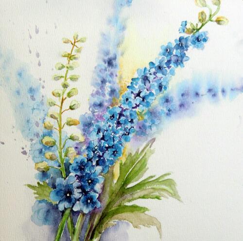 Aquarellmalerei, Blumen, Rittersporn, Aquarell, Aquarelle blumen