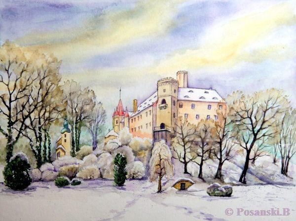 Sachsen, Winter, Schloss, Aquarell,