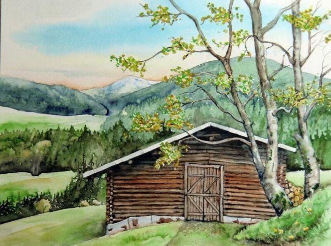 Aquarellmalerei, Landschaft, Hütte, Schweiz, Aquarell