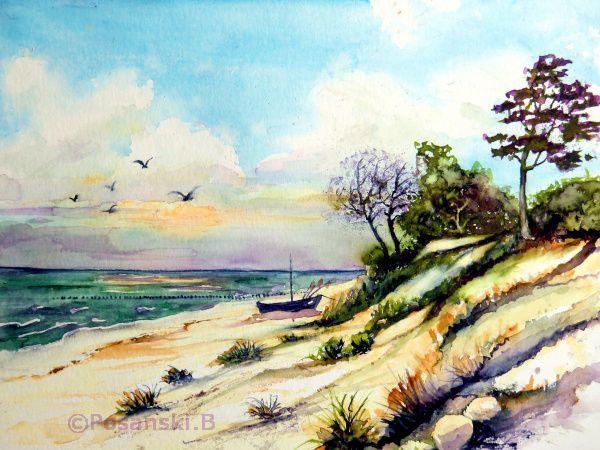 Usedom, Landschaft, Strand, Ostsee, Aquarell