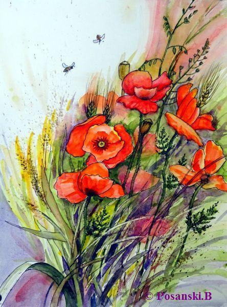 Blumen, Mohn, Klatschmohn, Mischtechnik, Wilder