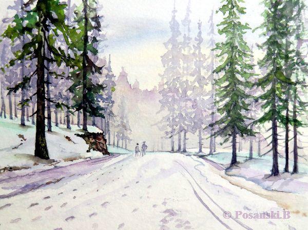 Winterlandschaft, Isergebirge, Bedrichov, Winter, Aquarell, Winterwald