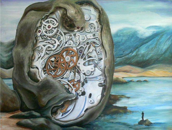 Die see, Zeit, Struktur, Uhr, Gemälde, Wasser
