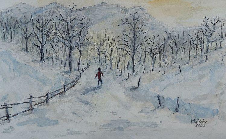 Natur, Weihnachten, Wanderer, Corona, Schnee, Weg