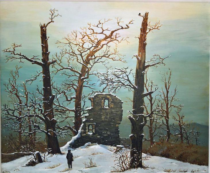 Romantik, Kapelle, Ruine, Winter, Malerei, Halle