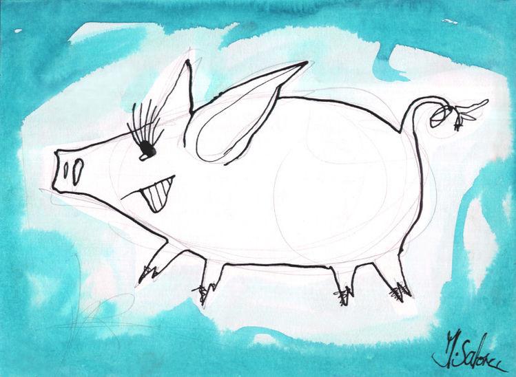 Schwein, Lustig, Bunt, Aquarell