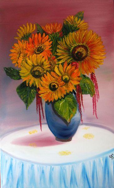 Vase, Ölmalerei, August, Fuchsschwanz, Sonnenblumen, Blütenstaub