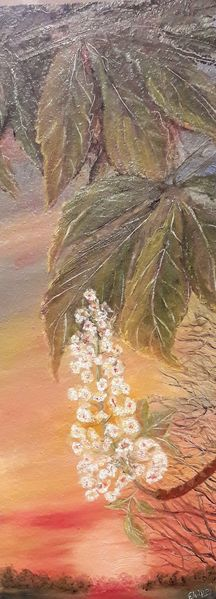 Baum, Sonne, Frühling, Licht, Kastanien, Malerei