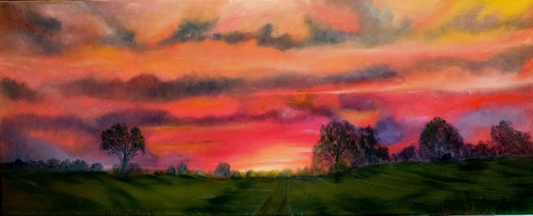 Himmel, Sonnenuntergang, Leuchten, Ruhe, Baum, Brandenburg