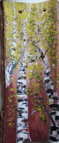 Acrylmalerei, Birken, Holz, Rinde, Malerei