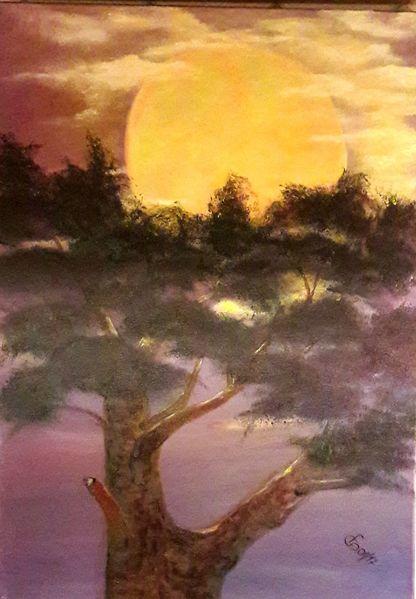 Äste, Mond, Nacht, Wipfel, Himmel, Malerei