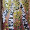 Acrylmalerei, Birken, Holz, Rinde