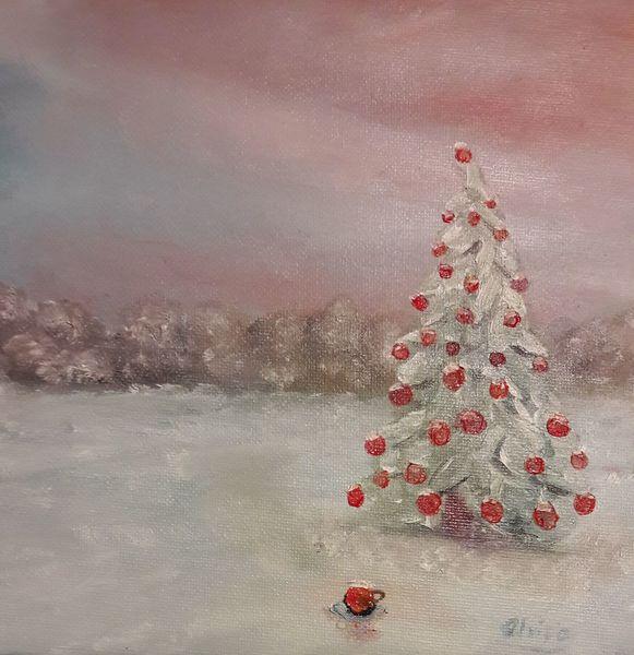 Baum, Himmel, Kugel, Weihnachten, Schnee, Malerei