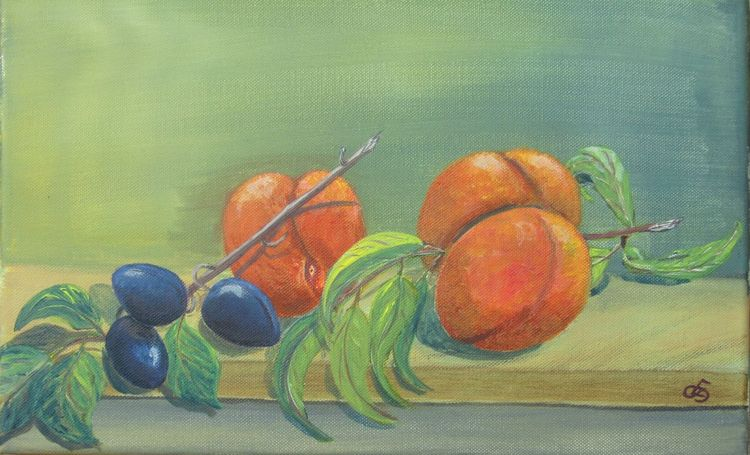 Erntezeit, Pflaume, Zweig, Früchte, Garten, Obst