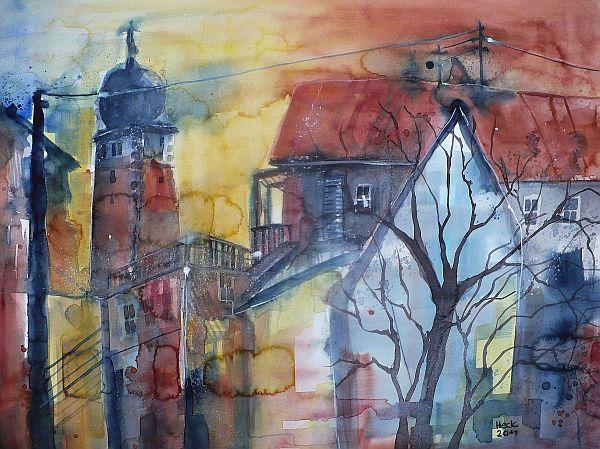 Aquarellmalerei, Abendrot, Kirche, Rot, Stadtansicht, Turm