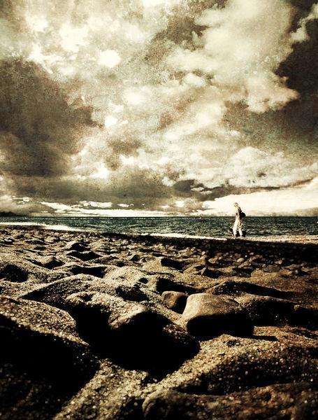 Frau, Strand, Erde, Horizont, Fotografie, Meer