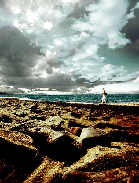 Meer, Frau, Wolken, Horizont, Himmel, Meerblick