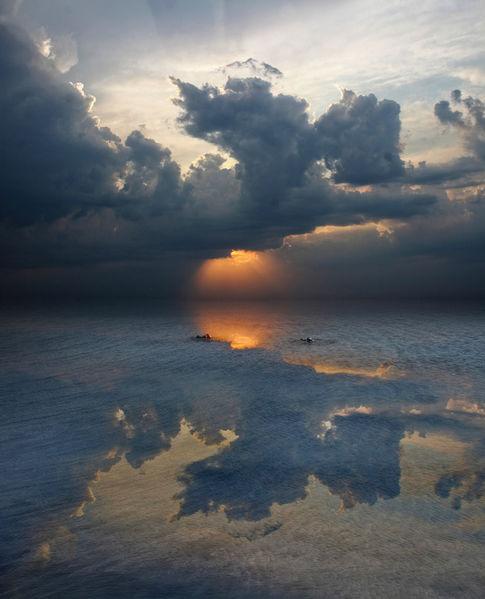 Schlagschatten, Sonnenuntergang, Wolken, Himmel, Licht, Meer