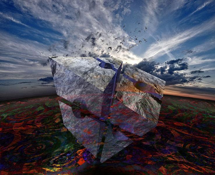 Digital, Blau, Sonnenuntergang, Orange, Fotografie, Landschaft