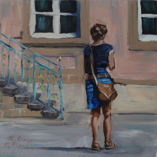 Tasche, Warm, Fenster, Ölmalerei, Menschen, Treppe