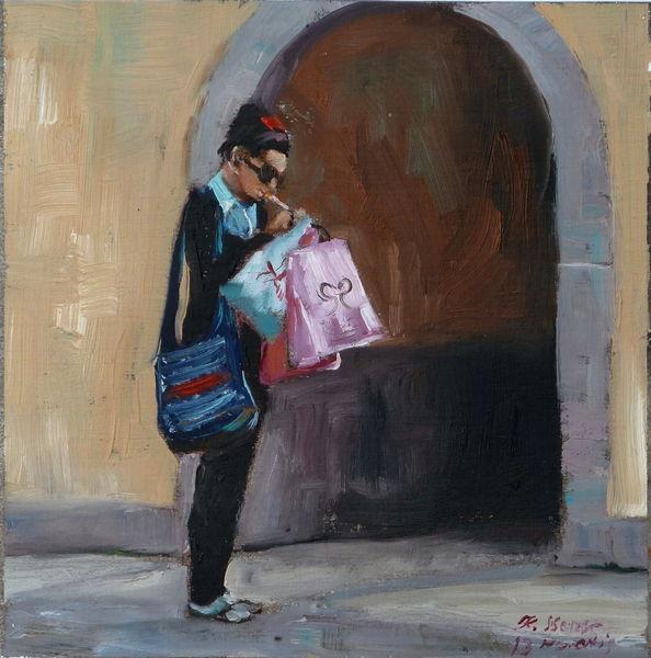 Menschen, Ölmalerei, Rauchen, Tüte, Blau, Einkaufen