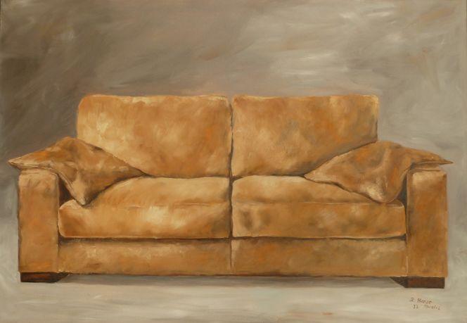 Sitzen, Schlaf, Ölmalerei, Braun, Sofa, Stillleben