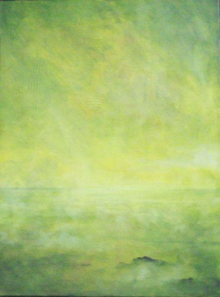 Stille, Schwerelosigkeit, Malerei, Abstrakt, Tal, Nebel