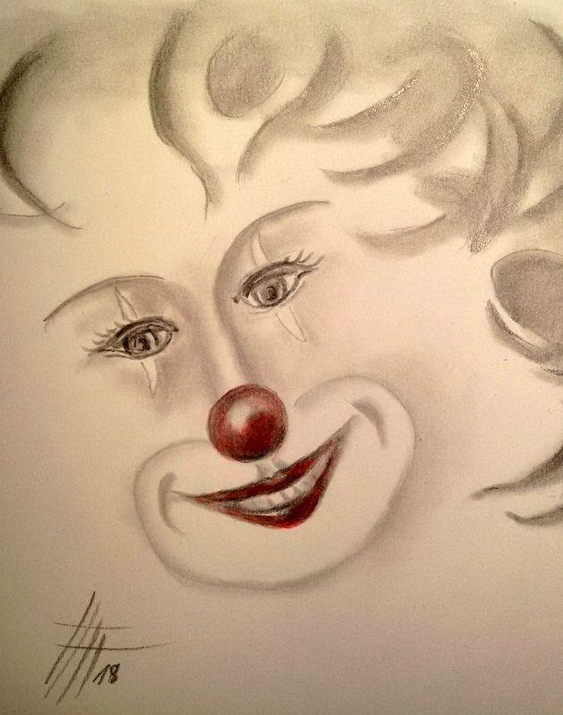 Frohlicher Clown Bleistiftzeichnung Harlekin Fasching Clown